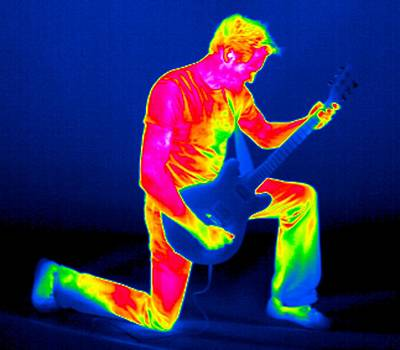 Playing Guitar, Thermogram Art Print by Tony Mcconnell