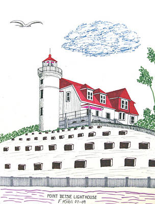 Lakeshore Drawing - Point Betsie Lighthouse by Frederic Kohli