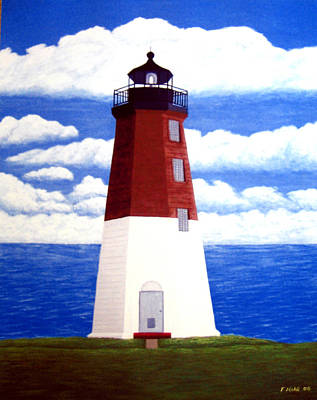 Christmas Card Painting - Point Judith Lighthouse by Frederic Kohli