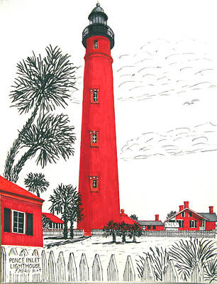 Drawing - Ponce Inlet Lighthouse by Frederic Kohli