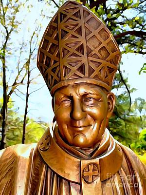 Digital Art - pope john paul II by Ed Weidman