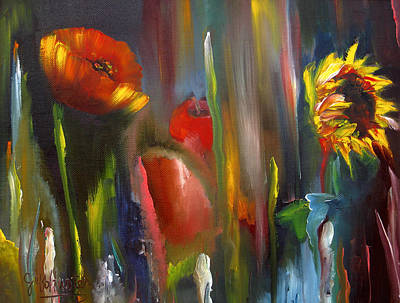 Poppy And Sunflower Art Print by Jeff Hunter