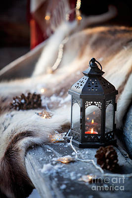 Snowy Night Photograph - Porch Decoration by Kati Molin