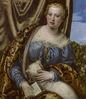 Portrait Of A Lady As Saint Agnes  Art Print by Paolo Veronese