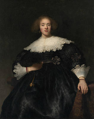 Painting - Portrait Of A Young Woman With A Fan by Rembrandt