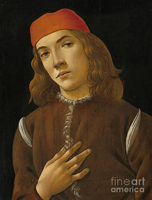 Black Background Painting - Portrait Of A Youth by Sandro Botticelli