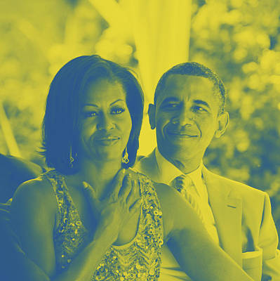 Portrait Of Barack And Michelle Obama Print by Asar Studios