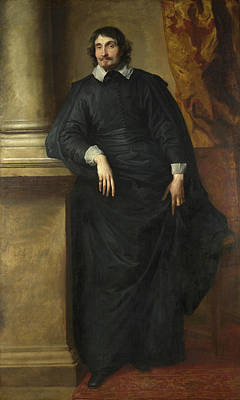 Indoor Painting - Portrait Of The Abbe Scaglia by Anthony van Dyck