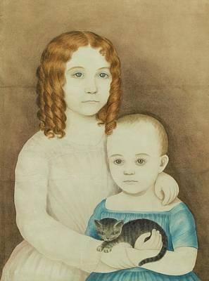 Door Locks And Handles - Portrait Of Two Children Holding A Kitten by MotionAge Designs