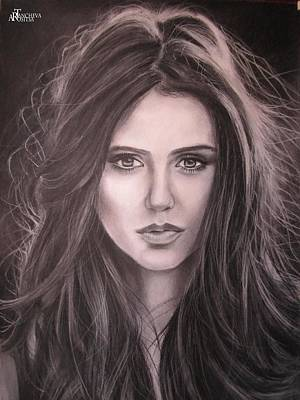 Nina Dobrev Drawing - Portrait by Rosi