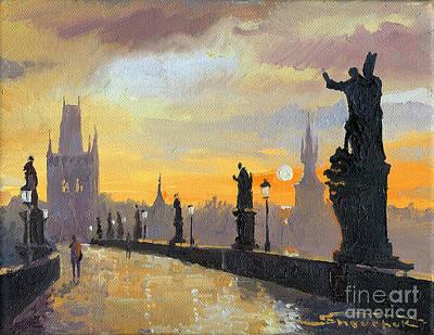 Cityscape Painting - Prague Charles Bridge 01 by Yuriy  Shevchuk