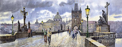 Charles Bridge Painting - Prague Charles Bridge by Yuriy  Shevchuk