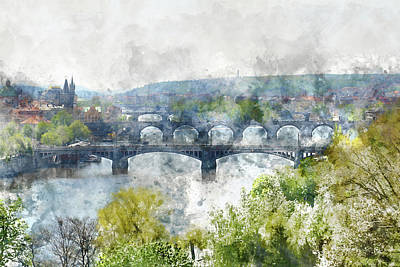 Czech Digital Art - Prague Czech Republic by Brandon Bourdages