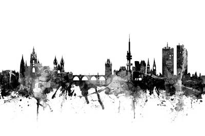 Praha Digital Art - Prague Praha Czech Republic Skyline by Michael Tompsett