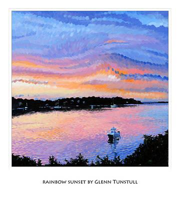 Painting - Rainbow Sunset Poster by Glenn Tunstull
