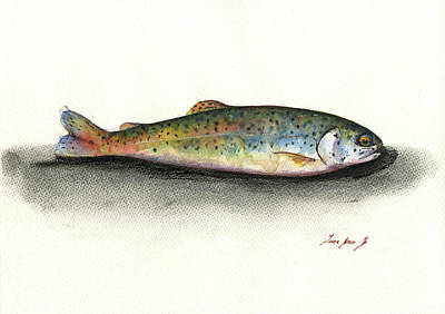 Trout Wall Art - Painting - Rainbow Trout by Juan Bosco
