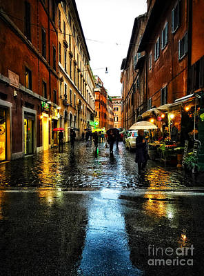 rainy night in Rome Art Print by HD Connelly