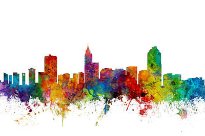 Landscape Digital Art - Raleigh North Carolina Skyline by Michael Tompsett
