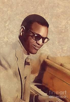 Rock And Roll Royalty-Free and Rights-Managed Images - Ray Charles, Music Legend by Mary Bassett