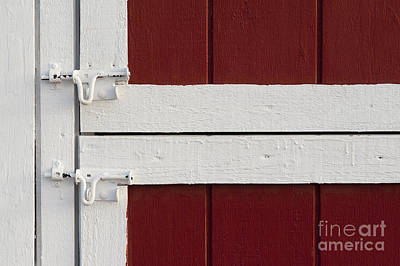 Photograph - Red And White Barn Latches by Jim Corwin