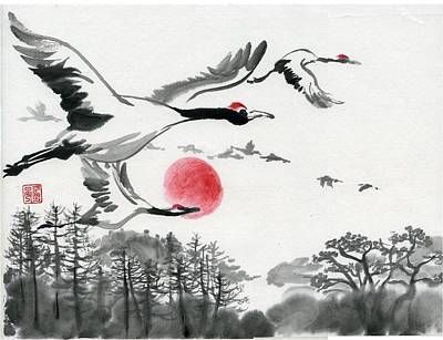 Painting - Red Crowned Crane by Ping Yan