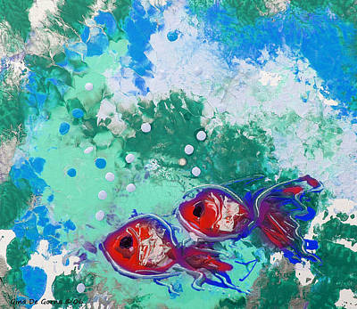 Outerspace Patenets Rights Managed Images - 2 Red Fish Royalty-Free Image by Gina De Gorna