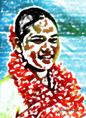 Hula Girl Art Digital Art - Red Lei by James Temple