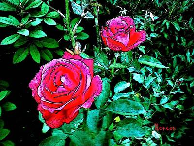 Photograph - 2 Red Roses by Sadie Reneau