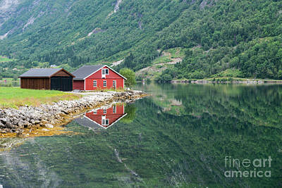 Photograph - Red Wooden House At Norway Fjord by Compuinfoto