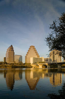 Austin Building Photograph - Reflection Of Buildings In Water, Town by Panoramic Images