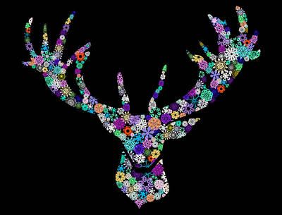 Animals Digital Art Royalty Free Images - Reindeer Design By Snowflakes Royalty-Free Image by Setsiri Silapasuwanchai