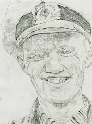 Reinhard Drawing - Reinhard Hardegen by Dennis Larson