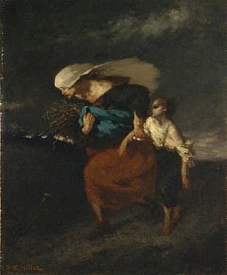 Retreat From The Storm Millet Painting - Retreat From The Storm by Jean Francois Millet