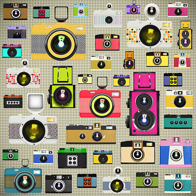 Retro Camera Pattern Art Print