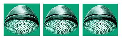 Photograph - Retro Mint Green Headlight Trio by Tony Grider