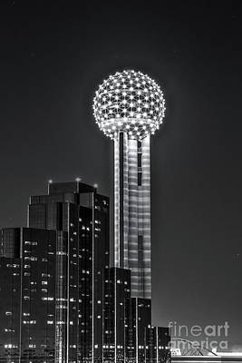 Dallas Skyline Photograph - Reunion Tower In Black And White by Tod and Cynthia Grubbs