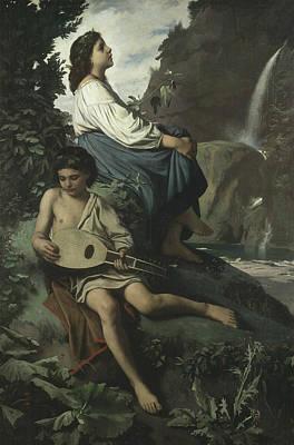 Lute Painting - Ricordo Di Tivoli by Anselm Feuerbach