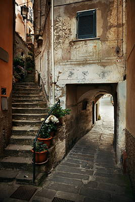 Photograph - Riomaggiore Alley  by Songquan Deng