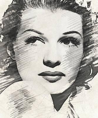 Musicians Drawings - Rita Hayworth, Vintage Actress by John Springfield
