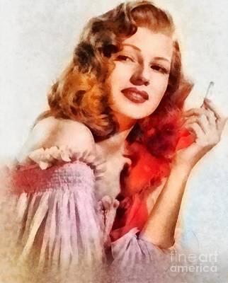 Rita Painting - Rita Hayworth, Vintage Hollywood Actress by Frank Falcon