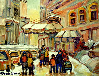 Montreal Winterscenes Painting - Ritz Carlton Montreal Streetscene by Carole Spandau