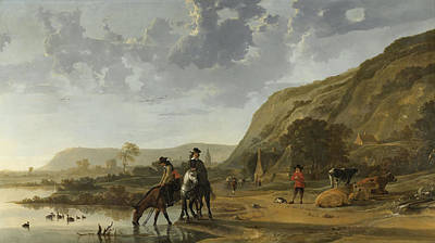 Bank Clouds Hills Painting - River Landscape With Riders by Aelbert Cuyp