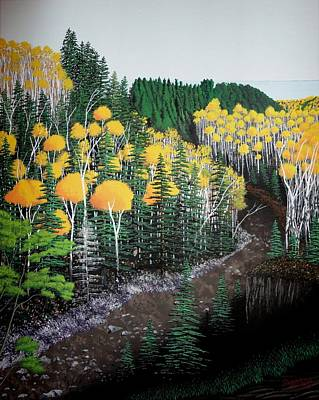 River Through Golden Forest Original by Dan Shefchik