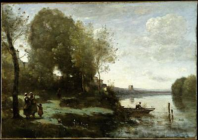 River With A Distant Tower Original by Camille Corot