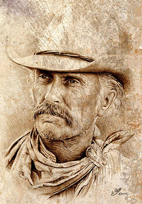 Movie Stars Drawings Drawing - Robert Duvall by Andrew Read
