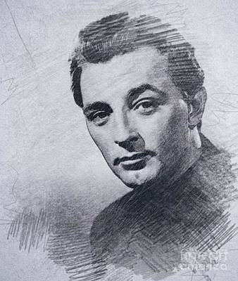 Musicians Drawings - Robert Mitchum, Vintage Actor by John Springfield