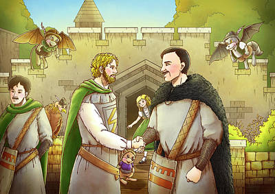 Robin Hood And The Captain Of The Guard Art Print by Reynold Jay