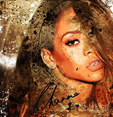 Rihanna Mixed Media - Robyn Rihanna Fenty - Rihanna by Sir Josef - Social Critic -  Maha Art