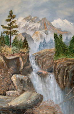 Painting - Rocky Mountain Waterfall by Alanna Hug-McAnnally