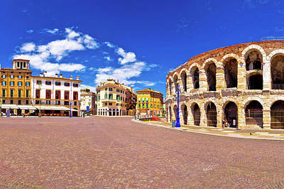 Photograph - Roman Amphitheatre Arena Di Verona And Piazza Bra Square Panoram by Brch Photography